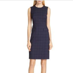 Hugo Boss Navy Docanes Modern Check Wool Dress